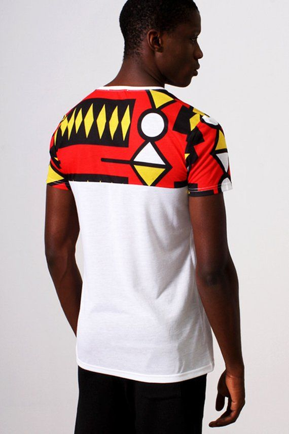 d781b6f2c White V-Design T-Shirt with African Print - Samakaka Print from Angola