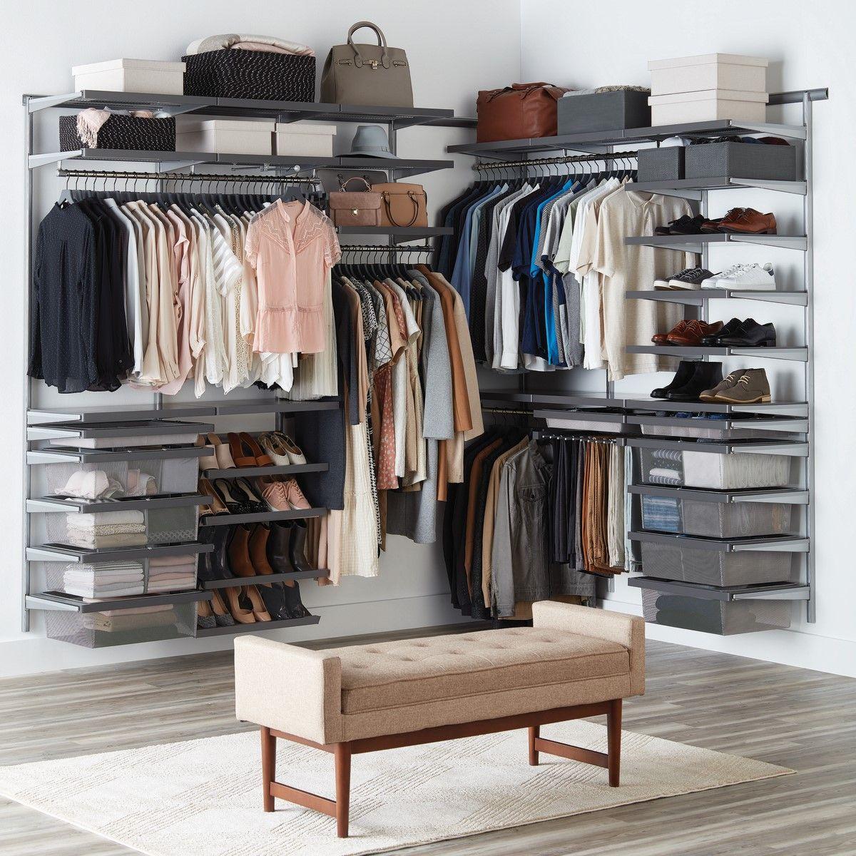Custom Elfa Decor Master Walk-in Closet in Grey and Platinum Visit