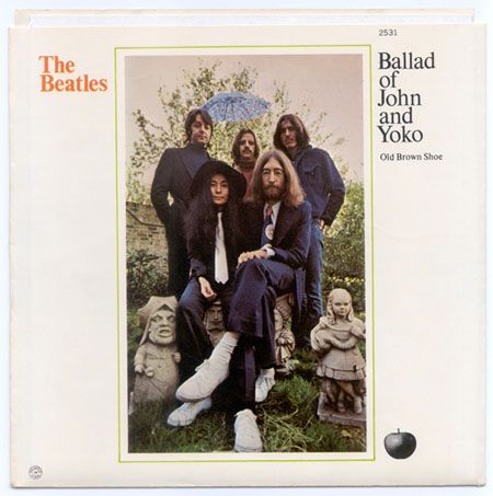 "SLeeve for single ""The Ballad of John and Yoko,"" 1969, design by Kosh"