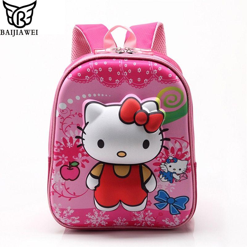 d3d42ab16374 Rose Red Hello Kitty Backpacks Plush Cartoon Toy Backpack Girl Character School  Bag Kids Mochila Infantil