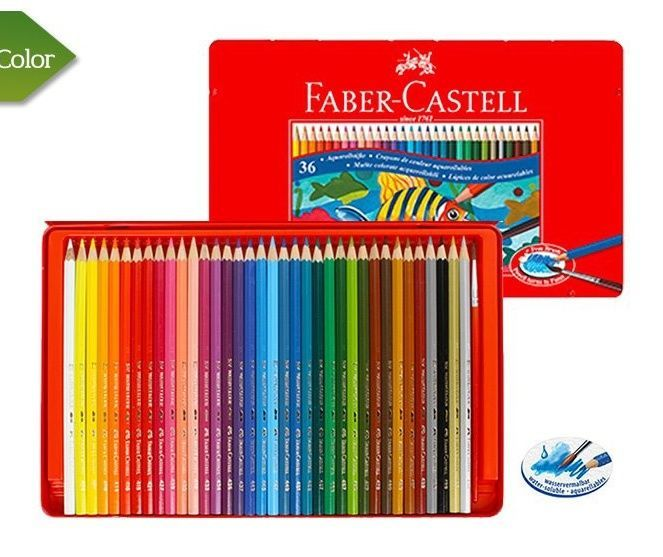 Details About Faber Castell Watercolour Pencil 12 24 36 Colors Tin Case Drawing Painting