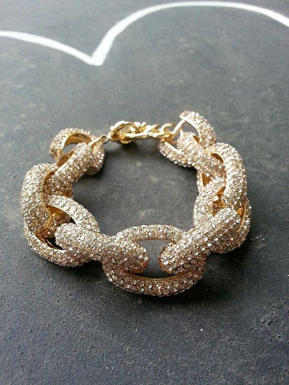 Pave Link Bracelet J Crew Gold Crystal Embedded