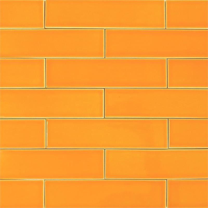Orange Kitchen Backsplash Tile: Orange Zest Ceramic 2x8 Subway Tile