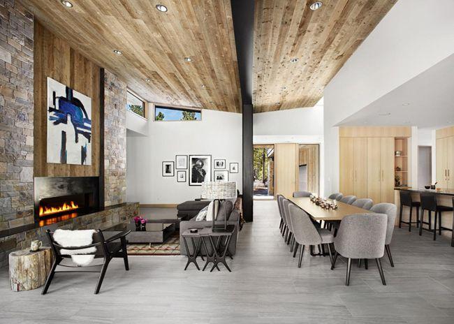 Maison façon chalet contemporain | Espace salon-foyer | Maisons ...