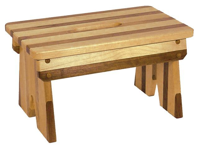 Amish Made Wooden Walnut and Oak Striped Step Stool Bench ...