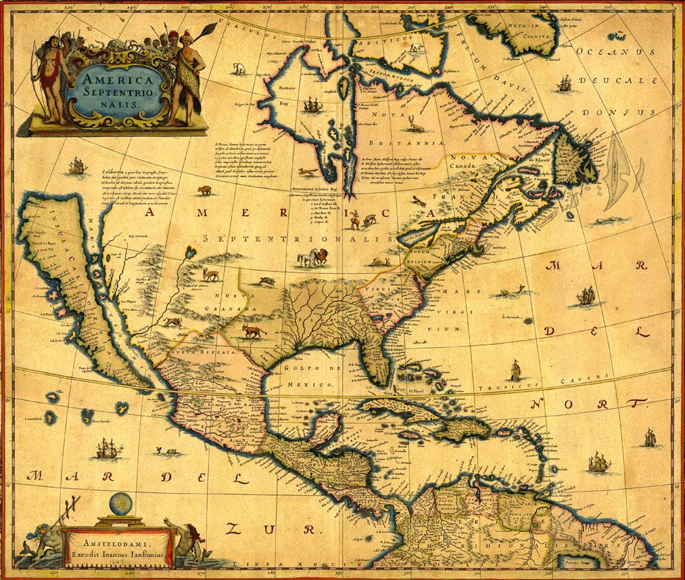 North America map of 1647, printed by Imagerich | Map, Old ...