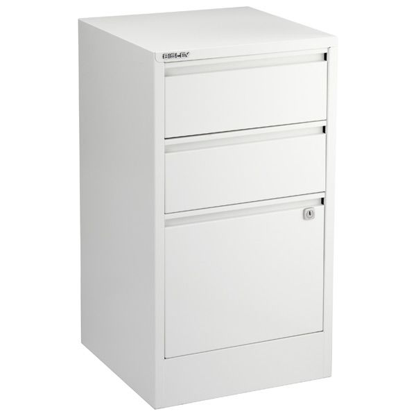 Bisley 3 Drawer File Cabinet White 1 Drawer For Hanging Files 2 Drawers For Supplies 199 99 Containerstore C Filing Cabinet Under Desk Storage Drawers