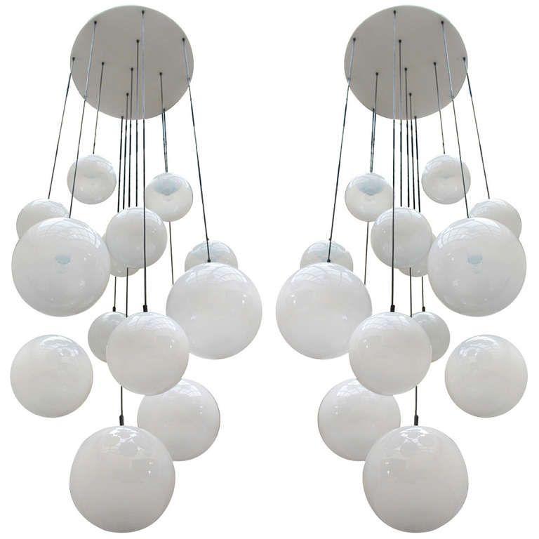 2 Impressive XXL Glass Balls Chandeliers By Raak 1960