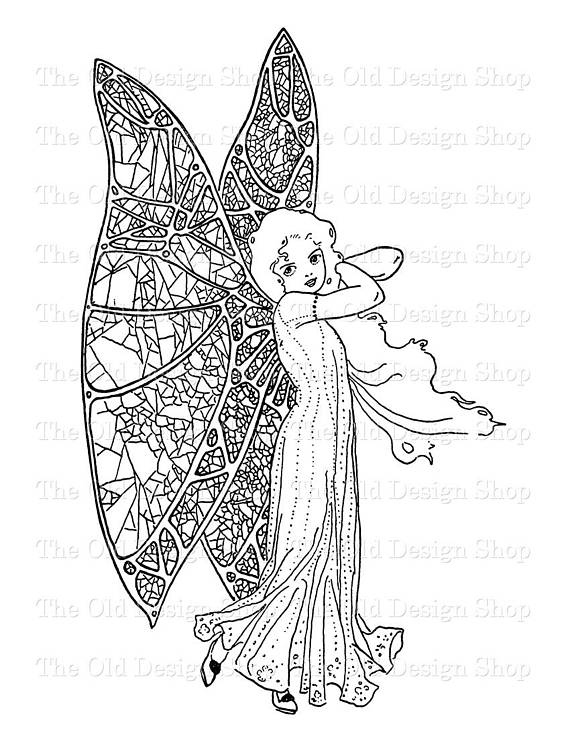 Fairy Clip Art Printable Vintage Butterfly Girl Illustration Digital Rhpinterest: Coloring Pages Butterfly Girl At Baymontmadison.com