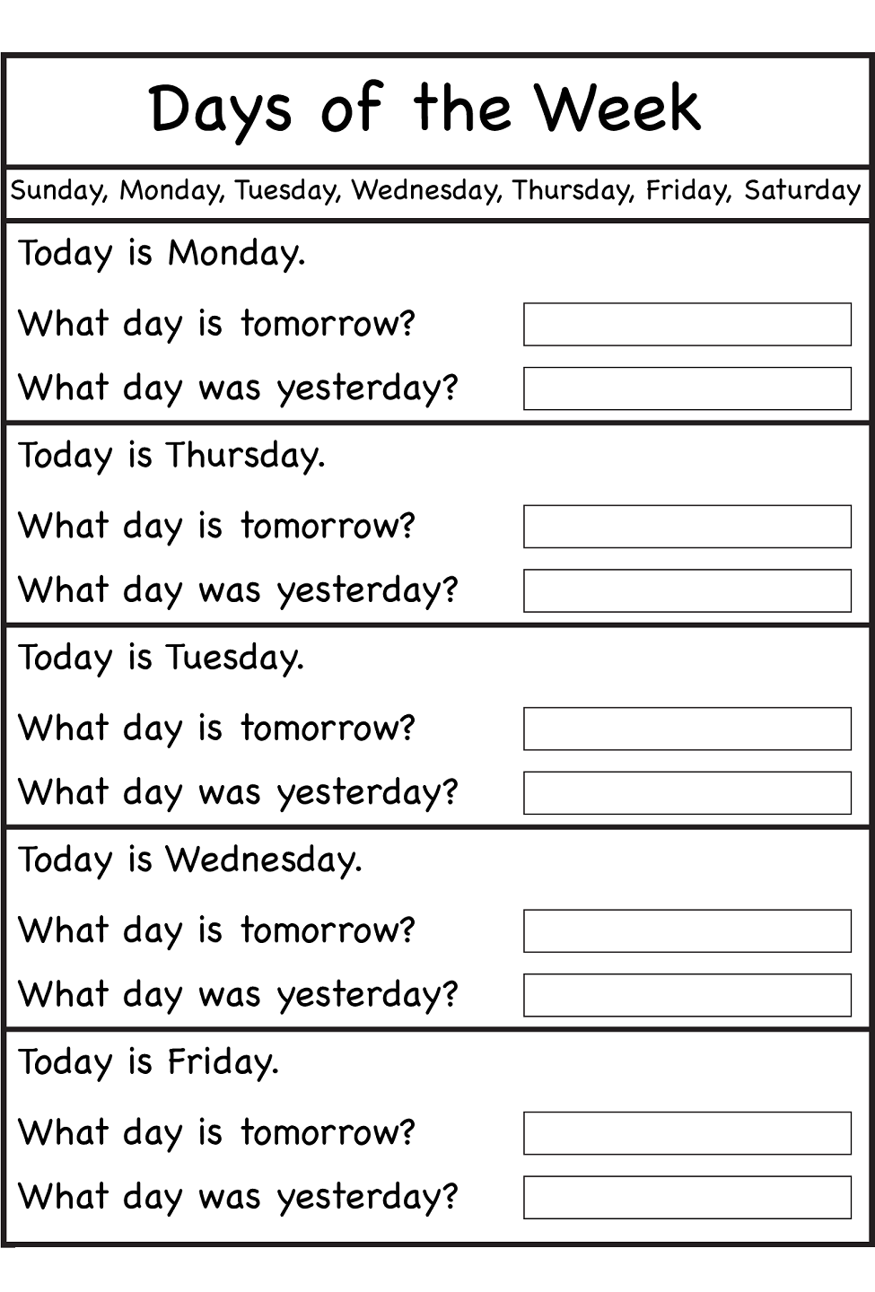 Days of the Week Worksheets | Activity Shelter | Kids Worksheets ...