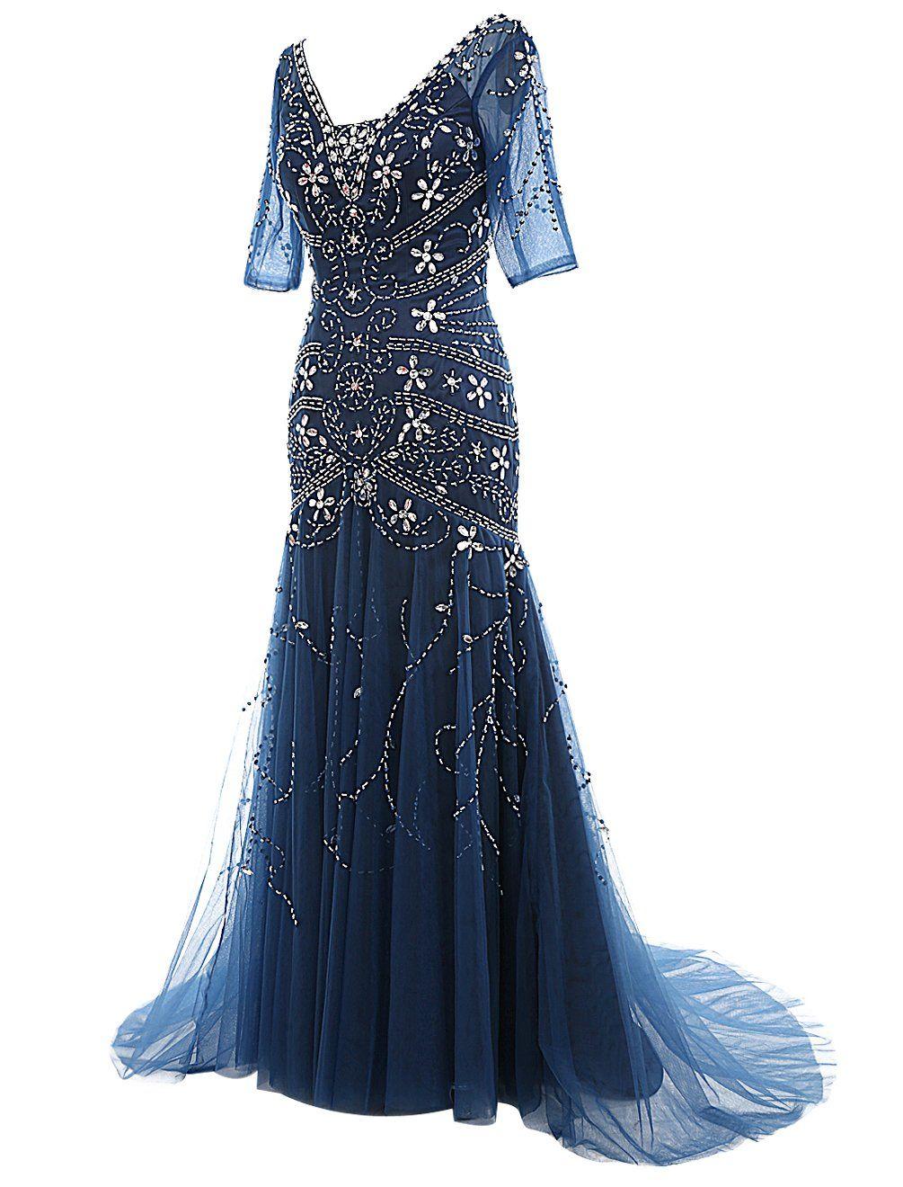 Dressystar v neck long beaded wedding dress mermaid ball gown with