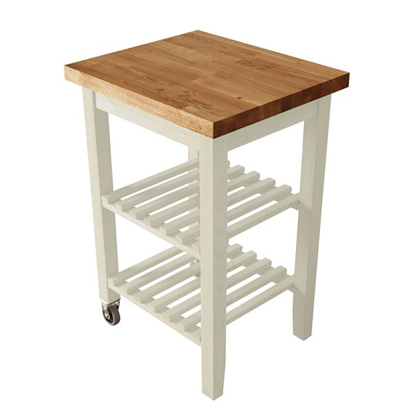 White Kitchen Trolley With Oak Worktop From Express This Mobile Butchers Block Is Constructed European Timber