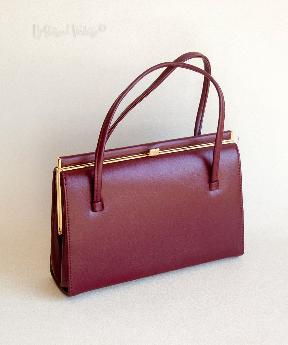 Vintage 1960s 70s Burgundy Leather Kelly Style Handbag With Suede Lining By Upstagedvintage On Etsy