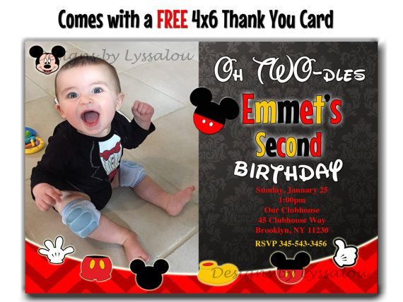 MICKEY MOUSE INVITATION 2nd Birthday Second by DesignsbyLyssaLou