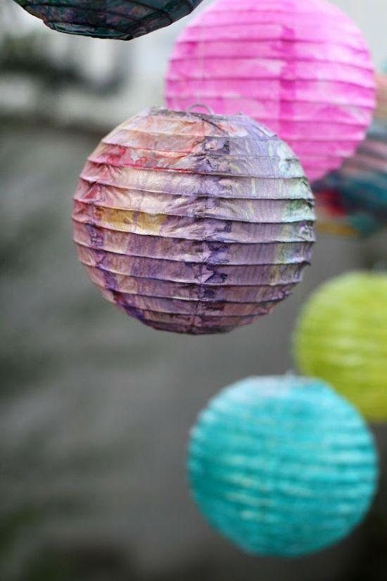 Basteln Kleinkinder rosa lila Laterne bemalen Lichterfest - deko garten basteln