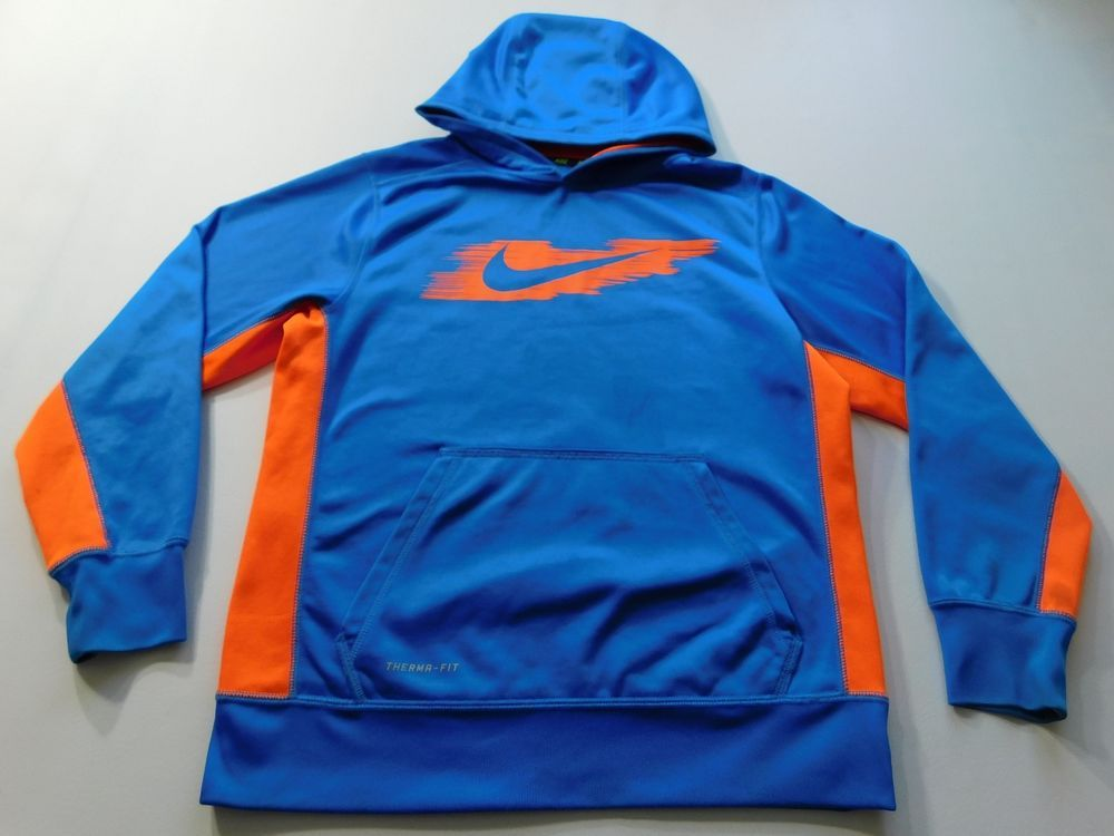 Nike Boys Hoodie Blue Size Large L Therma Fit Pull Over Long