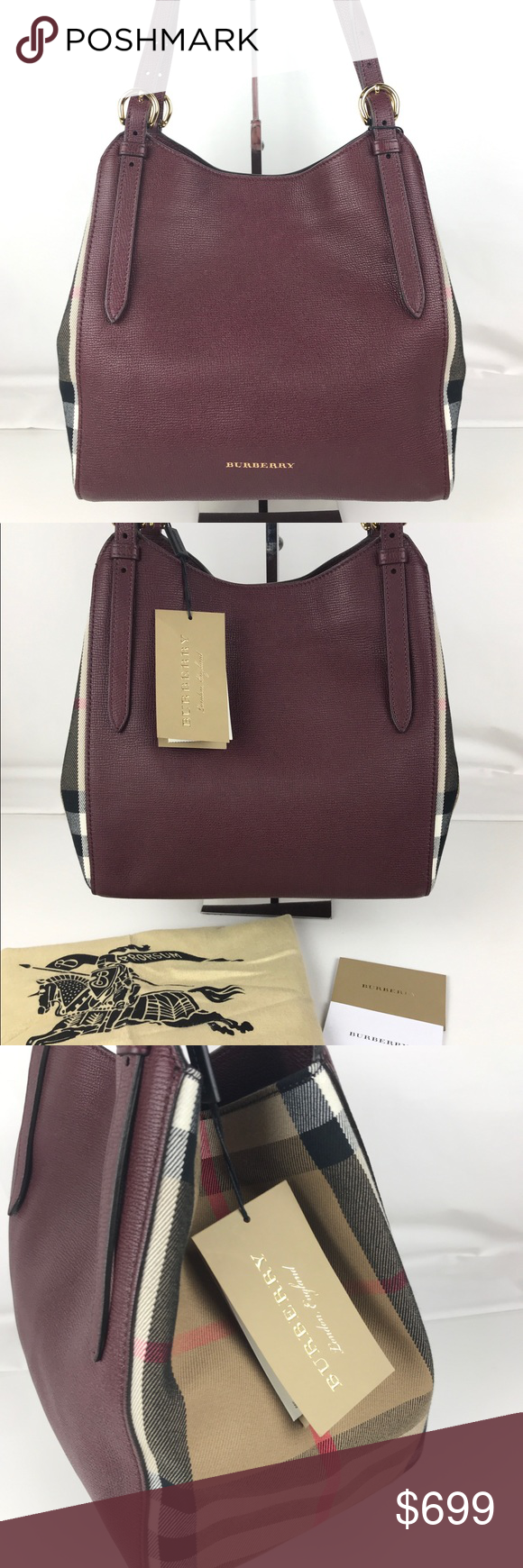 363d9689a2cf Burberry Small Canter Mahogany Red Leather Tote Authentic Burberry Style  3963029. New with Tag