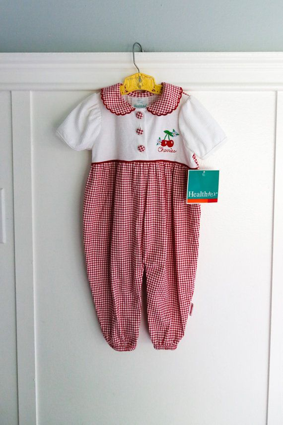 692e148c879 12 months  Red Gingham Romper with Cherry Embroidery by Petitpoesy