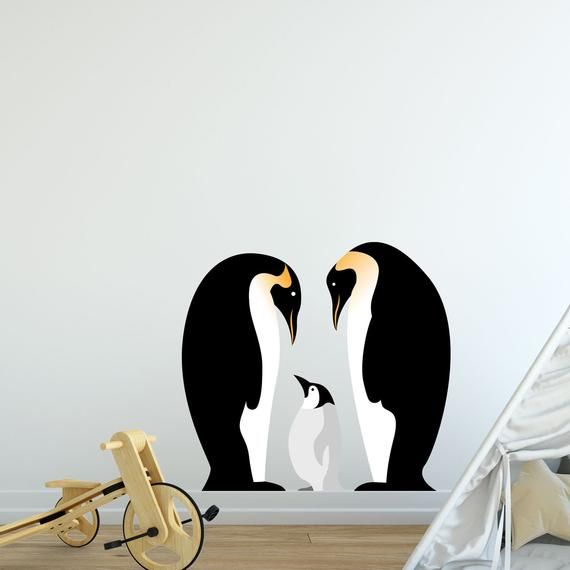 Penguins with flannel bellys wall decal upto four colors