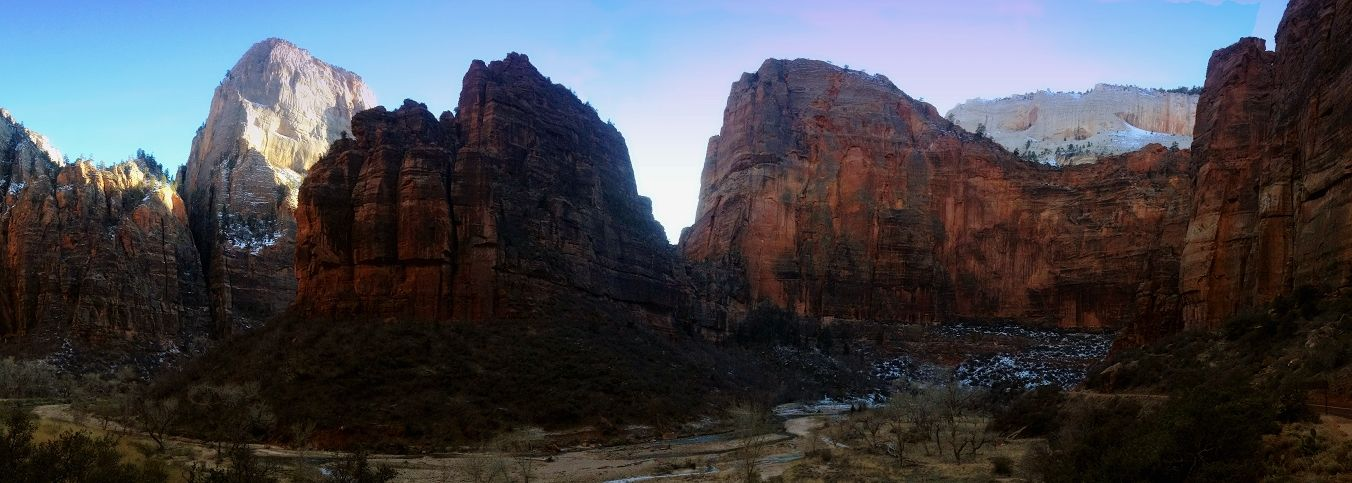 Zion National Park.  Photo taken as the sun started to set in Zion National Park.