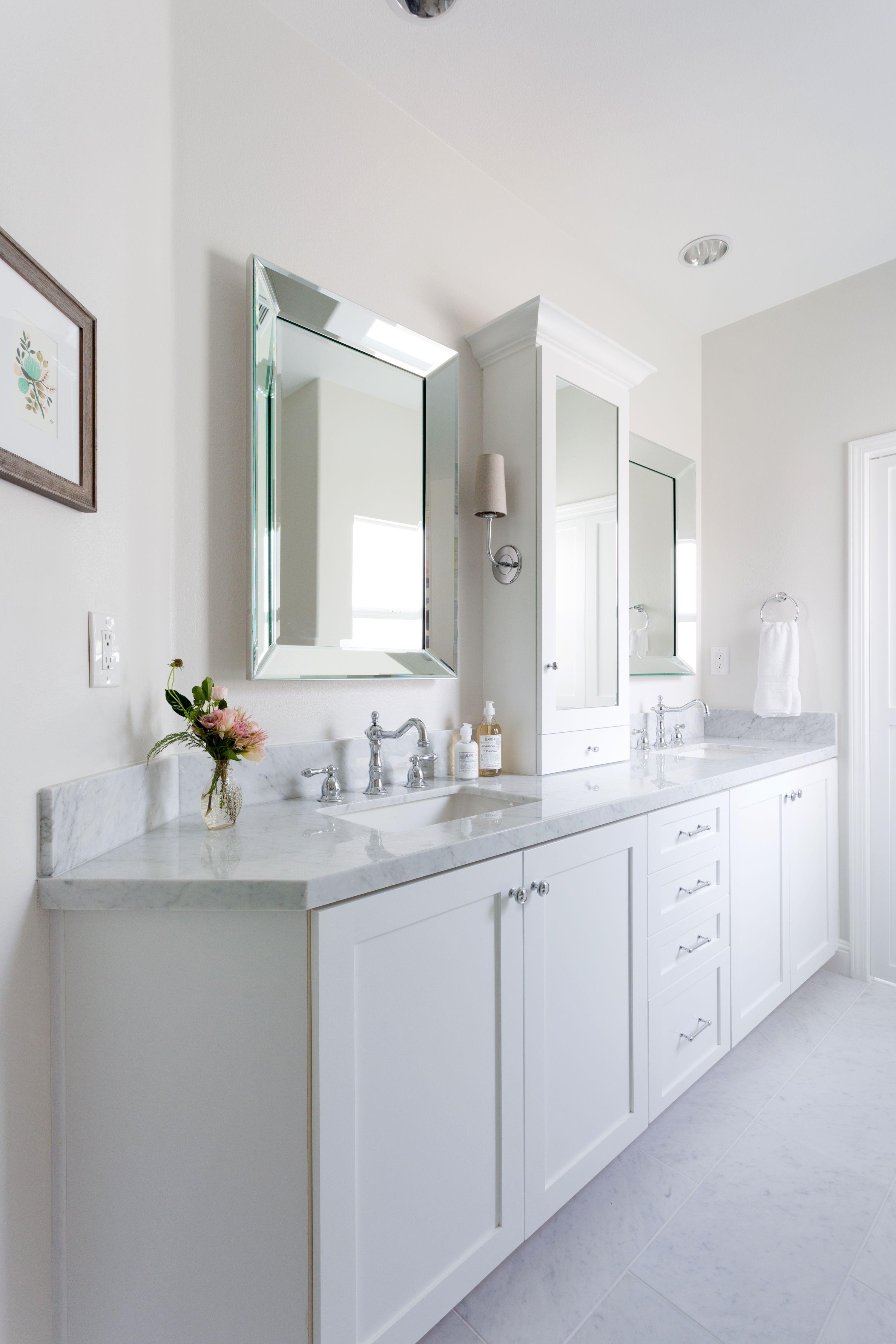 bright and clean modern all white master bath light on vanity bathroom id=96968