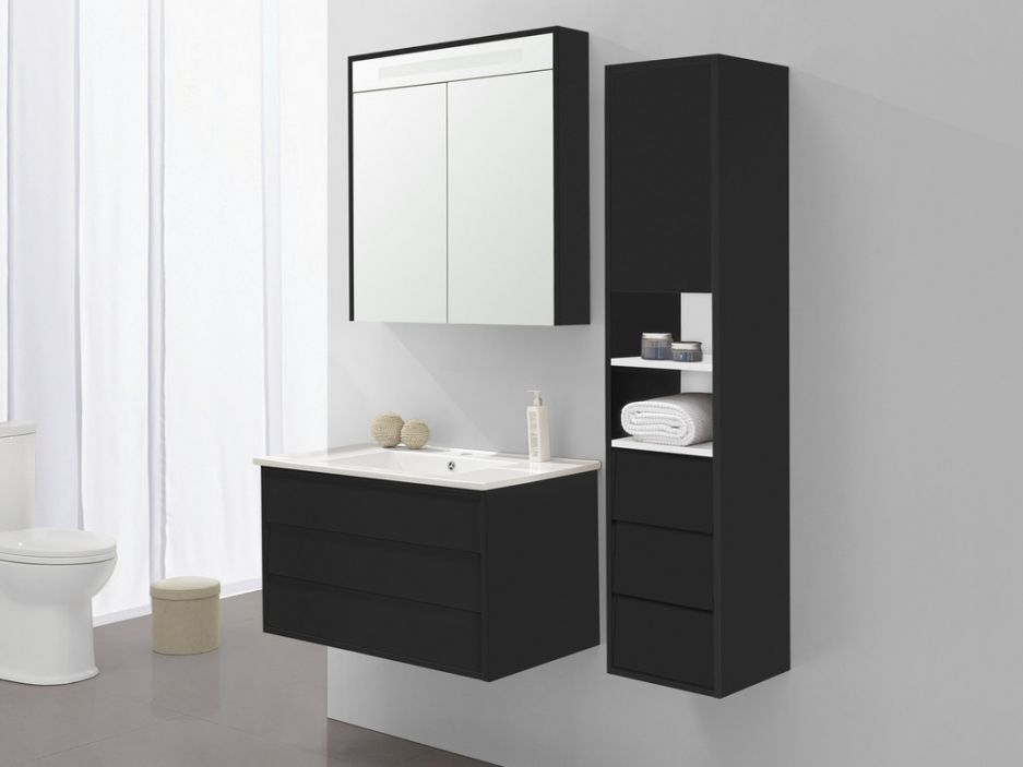 ensemble de salle de bain aissa miroir et colonne noir. Black Bedroom Furniture Sets. Home Design Ideas