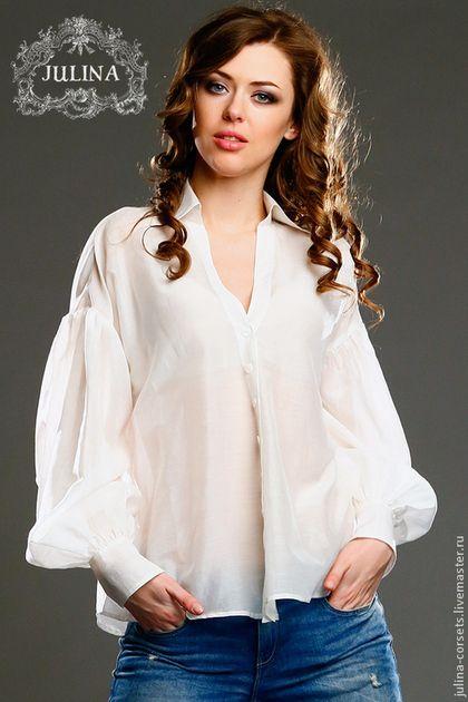 076ec64a189 Блузки ручной работы. Блузка белая батистовая. JULINA. Ярмарка Мастеров.  Блузка в офис