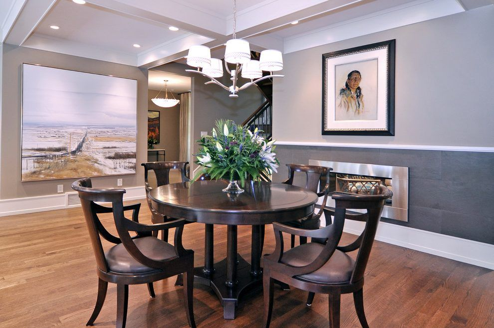 Calgary earth tone paint with transitional chandeliers dining room calgary earth tone paint with transitional chandeliers dining room and dark stained furniture wood floor aloadofball Choice Image
