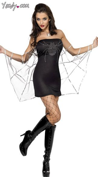 fe627e11d15 Fever Black Widow Dress With Web Sleeves, Black Widow Spider Costume ...
