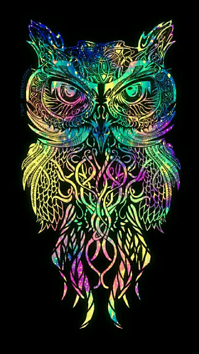 Colorful Tribal Owl Galaxy Iphoneandroid Wallpaper I