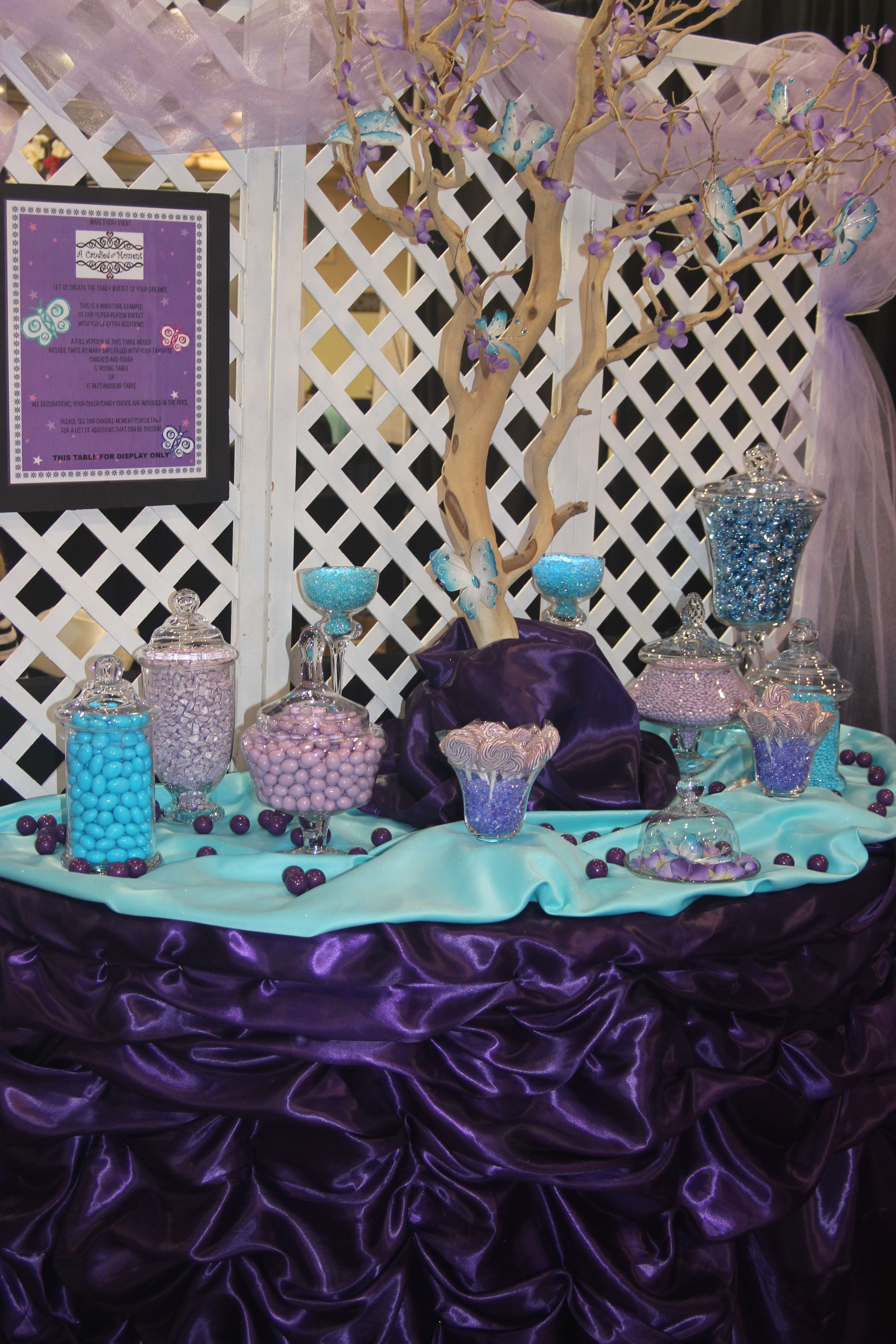 Blue Amp Purple Candy Buffet Candy Buffet W Butterflies Candy Butterflies Butterfly Dessert