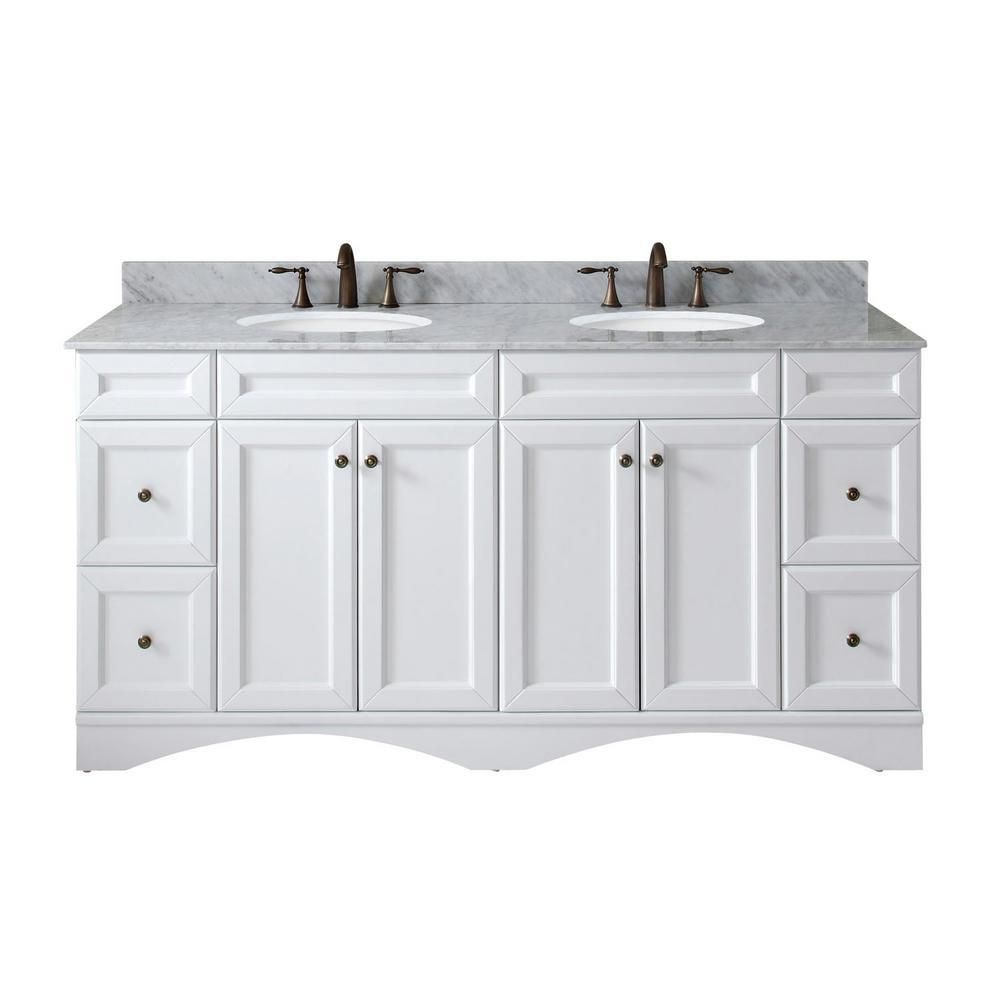 Virtu Usa Talisa 72 In W Bath Vanity In White With Marble Vanity