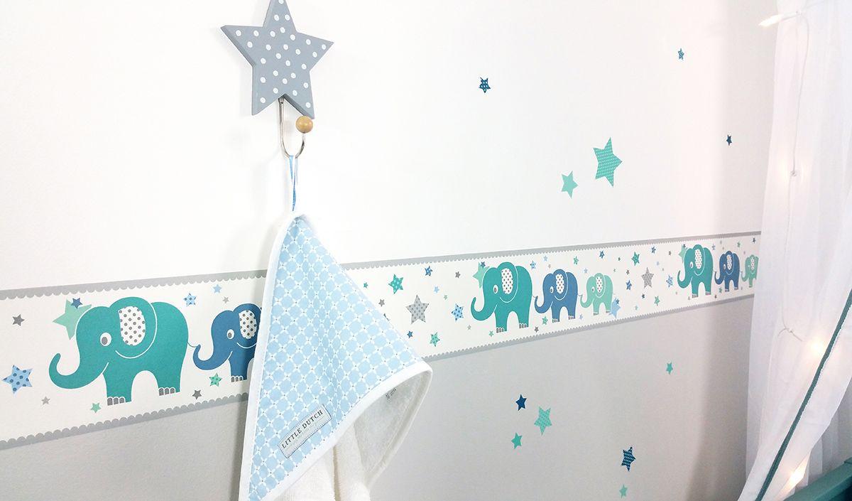 Dinki Balloon Kinderzimmer Bordure Elefanten Grau Mint Blau