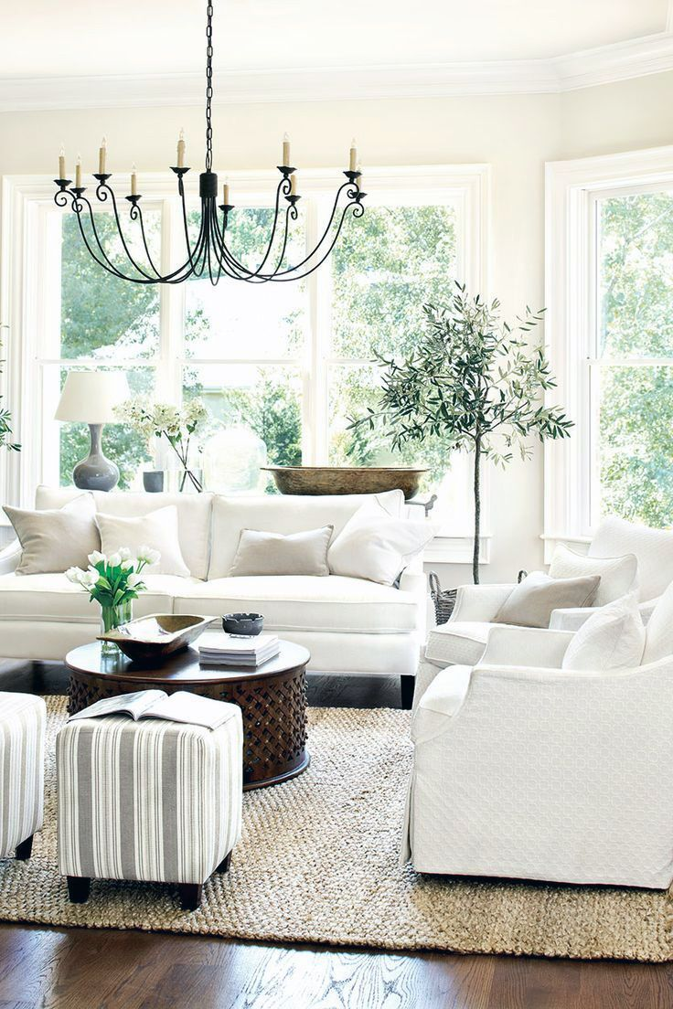 Living Room decor ideas - White traditional cottage style, white ...