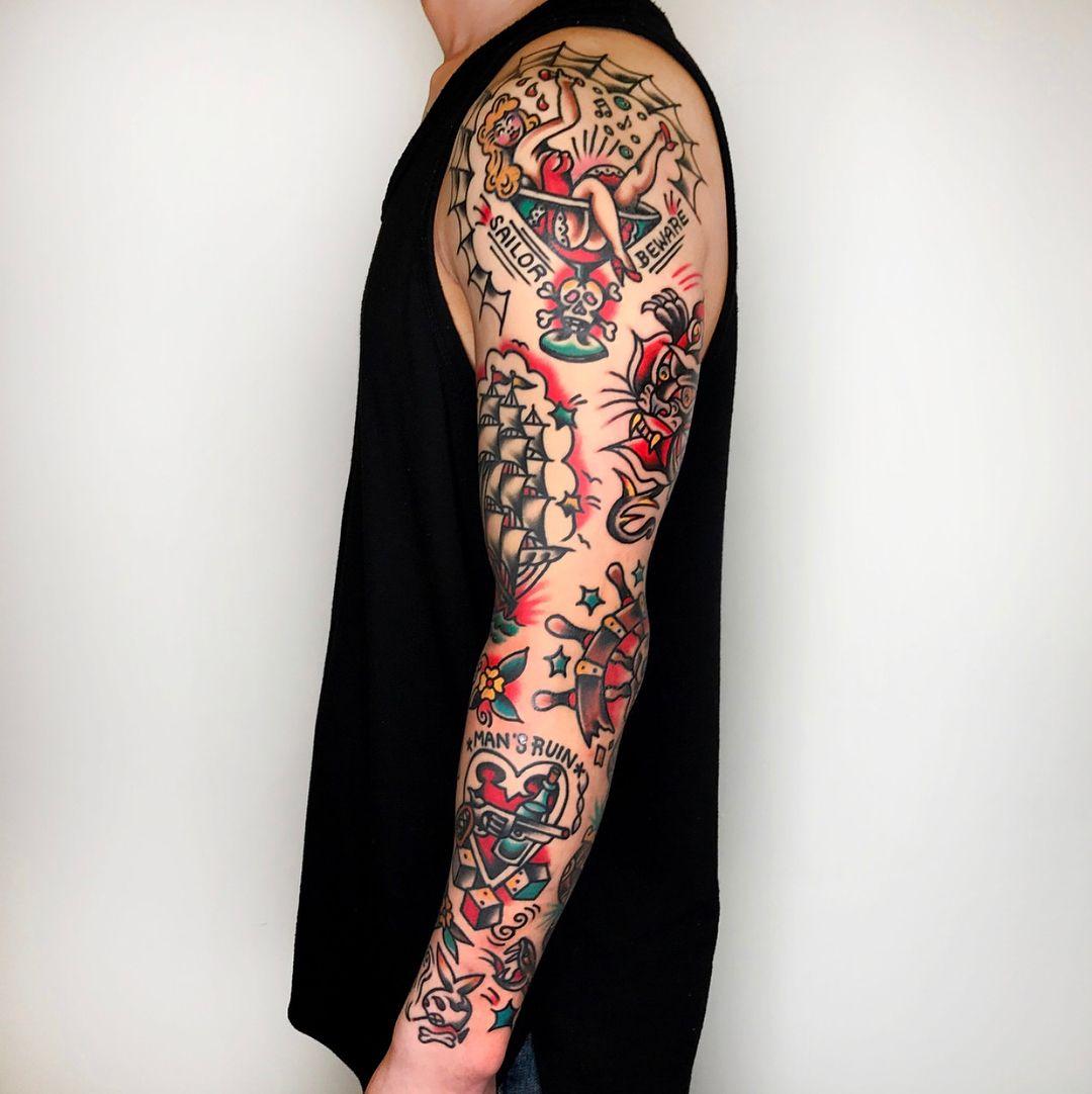 By Needles Tattooing Tattoos Sleeve Tattoos Sailor Tattoos