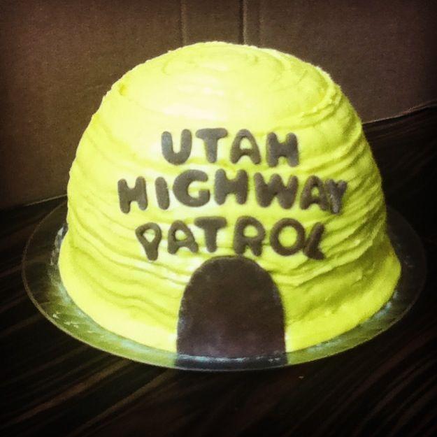 Beehive cake for your friendly neighborhood highway patrol officer.