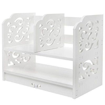 White Openwork Freestanding Book Shelf / Desk Top Organization Caddy / Stationary Storage - MyGift®