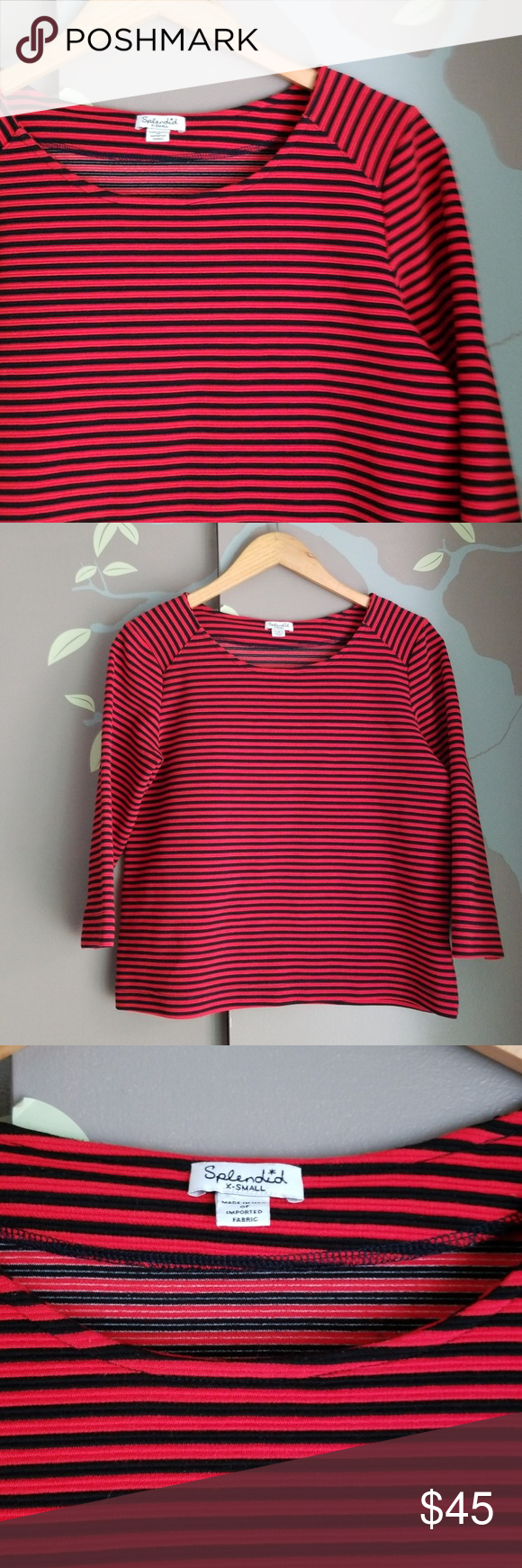 556c79d217 Splendid ribbed stripe boatneck top Red and dark Navy, (almost black)  ribbed thick knit top with 3/4 sleeves and wide boatneck Loose straight cut  and ...