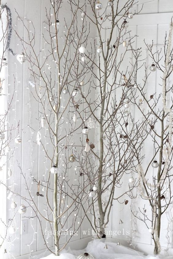 Bare Branch Trees Winter Home Decor White Christmas Tree Decorations White Christmas Trees Christmas Deco