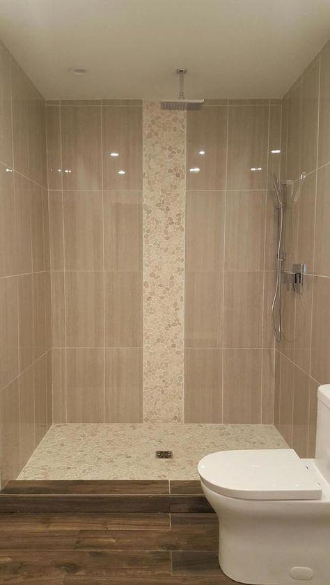 Large sliced white pebble tile luxury shower | shinny shower stall ...