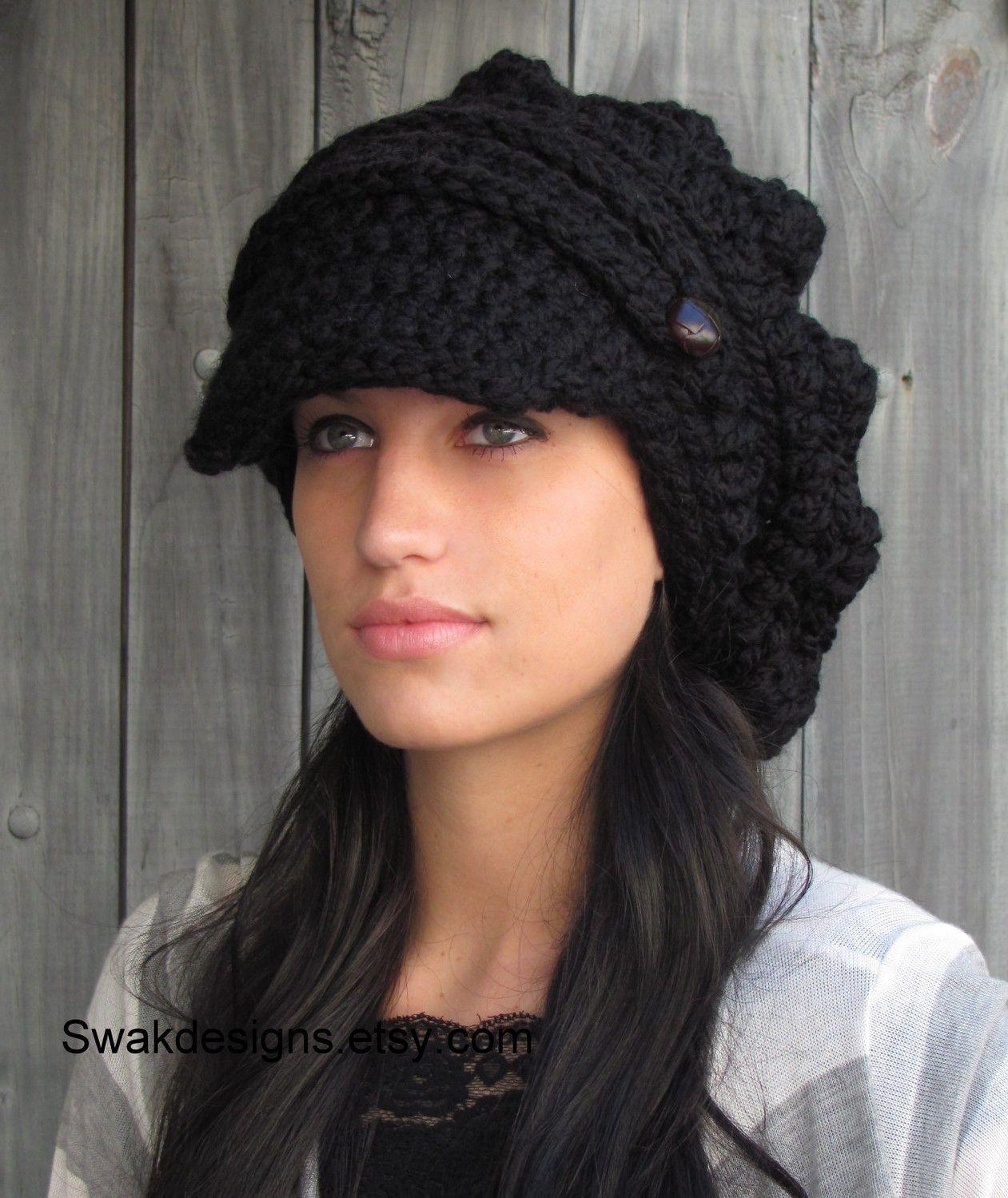 8b1109ad Black Slouchy Hat Crochet Slouchy Hat Newsboy Hat Womens Hat Chunky Beanie  Brim Handmade Two Leather
