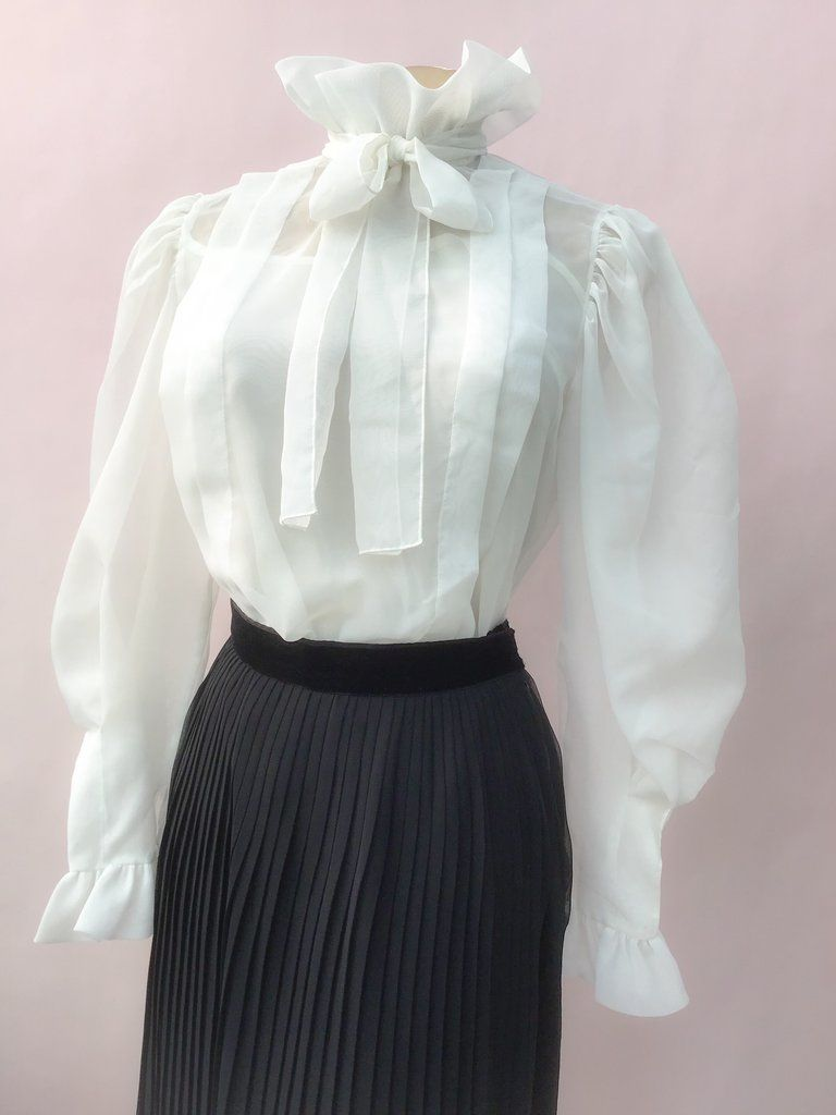 80s ruffle blouse Secretary Blouse 9 to 5 80s black and white diamond pattern blouse with ruffle neck 80s clothing Pussy Bow Aesthetic