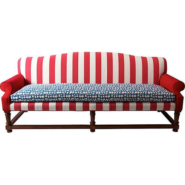 Red, White, & Blue Stripe Sofa ($1,595) ❤ liked on Polyvore ...