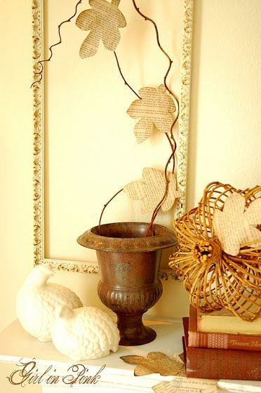 Girl in Pink: Fall Mantel - Easy Book Page Leaf Garland