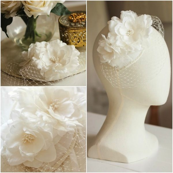 Bespoke ivory floral headpiece for Sarah G