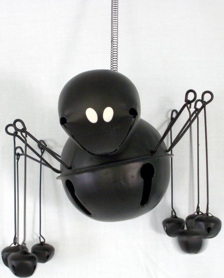 Large JUMBO Hanging Black Spider Jingle Bell Halloween Decoration - spiders for halloween decorations