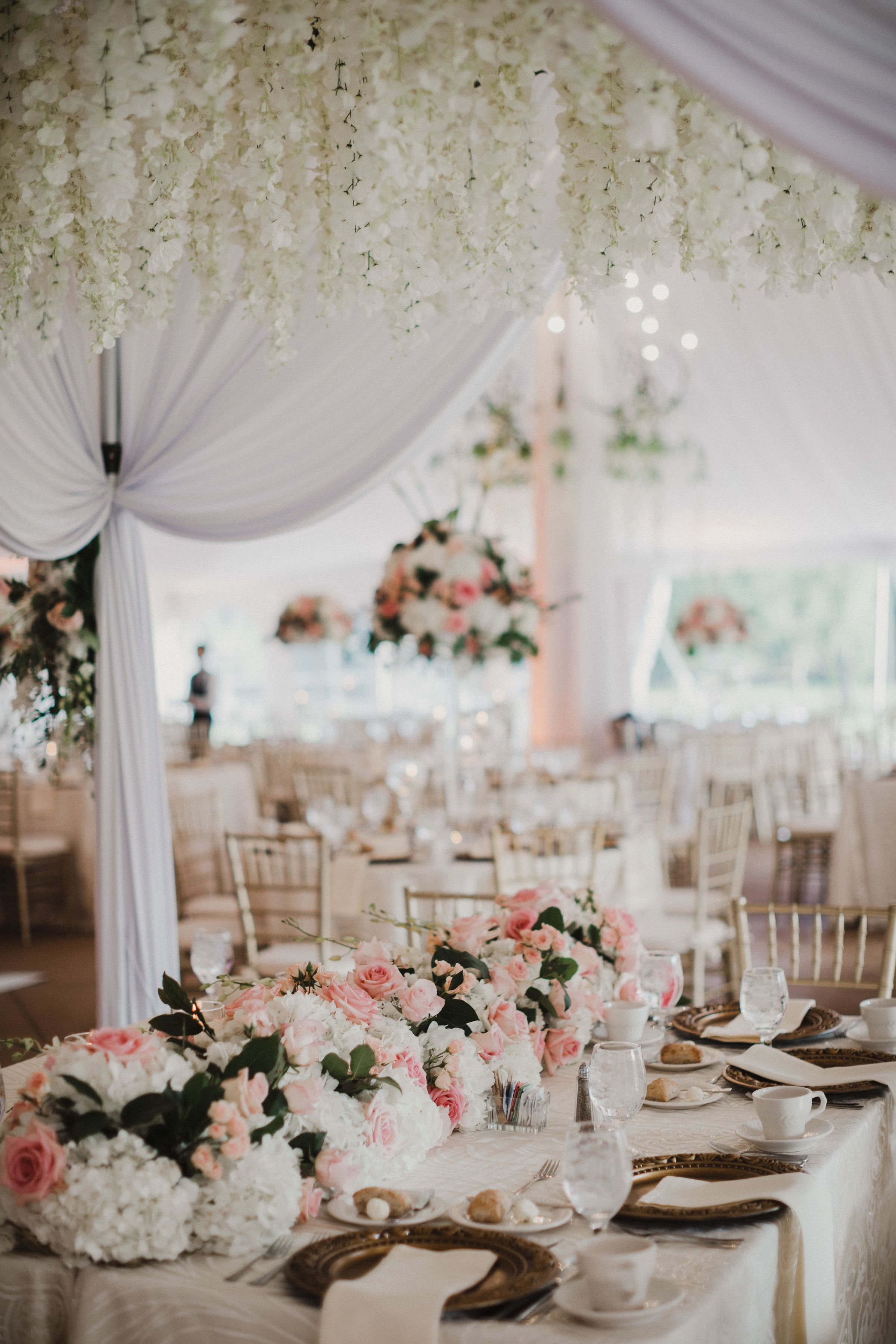 Elegant Pink And White Wedding Reception Decor In The Garden Tent