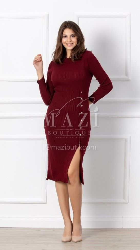 Dugme Detay Yirtmacli Triko Elbise Bordo 2020 Elbise Triko Mankenler