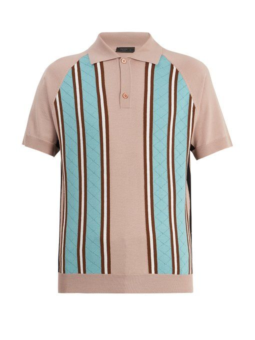 Point-collar striped-knit wool polo shirt Prada Real Online Perfect For Sale Grey Outlet Store Online WbWTL7