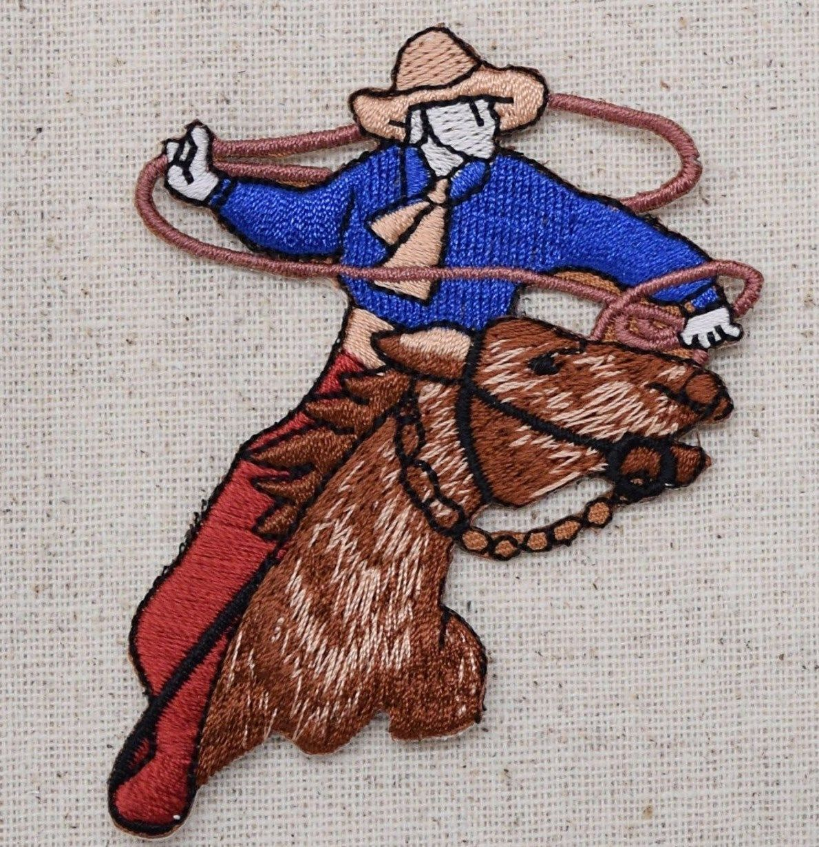 Iron on Cowboy Boot with Horseback Rider Applique Patch